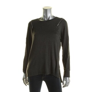 Elan Womens Sweatshirt Long Sleeves Hi-Low Hem - m