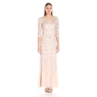 c2614ee259 Adrianna Papell Women s Beaded Long Gown with Illusion Neckline