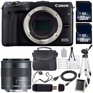Canon EOS M3 Mark III 24.2 Mp Mirrorless Camera International Model (Black) + Canon EF-M 18-55mm Lens Saver Bundle