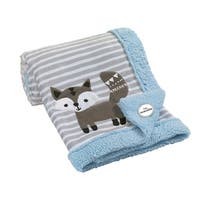 Lambs & Ivy Stay Wild Blue/Gray/White Fox Minky and Sherpa Baby Blanket
