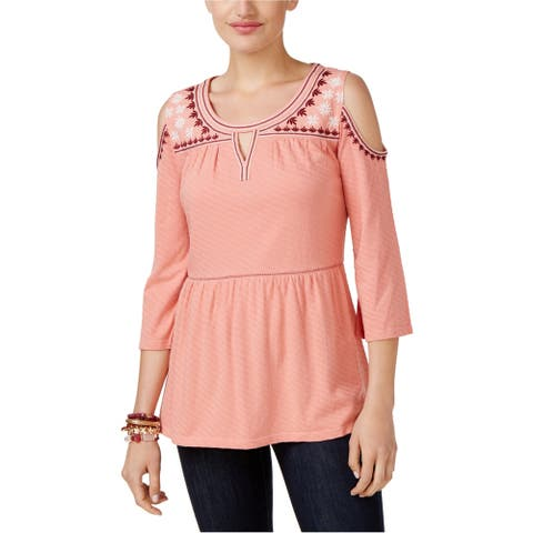 Style & Co. Womens Embroidered Cold Shoulder Blouse, Orange, X-Large