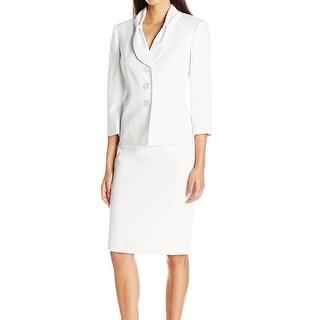 Le Suit NEW White Pindot Women's Size 6 Three Button Skirt Suit Set