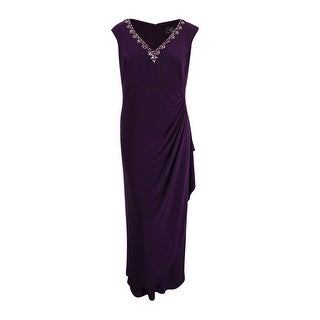 Alex Evenings Women's Plus-Size Embellished V-Neck Jersey Gown