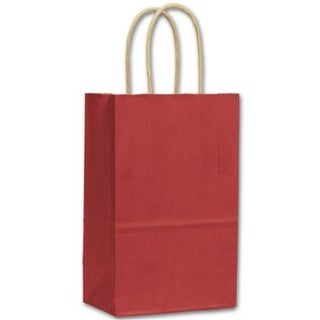 5.25 x 3.5 x 8.25 in. Varnish Stripe Shoppers, Red