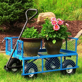 Sunnydaze Utility Cart w/Removable Folding Sides 400lb Capacity -Color Options