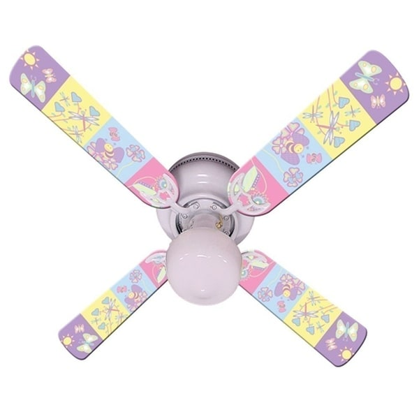 Pastel Butterfly and Friends Print Blades 42in Ceiling Fan Light Kit - Multi