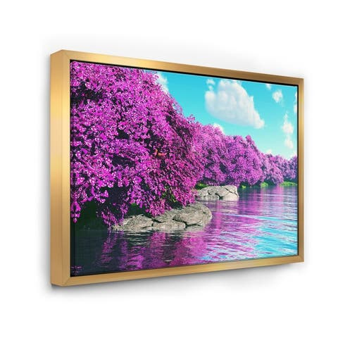 Designart 'Beautiful Row of Cherry Blossoms' Landscape Framed Canvas Art Print