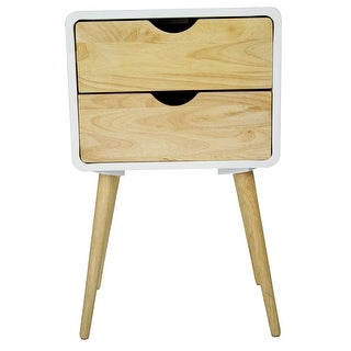 2-Drawer End Table - Mdf, Wood In White