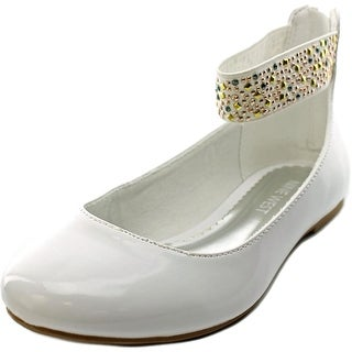 Nine West Faye Youth Round Toe Synthetic White Ballet Flats
