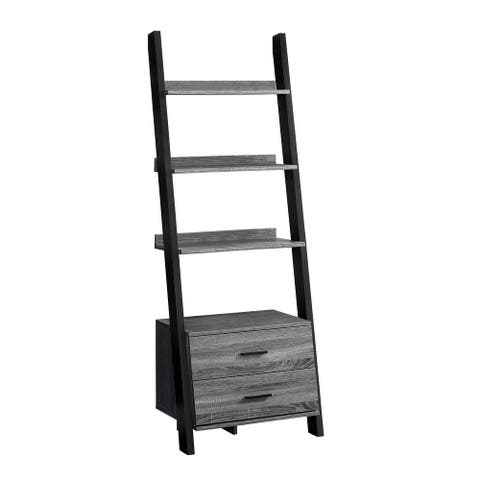 """Offex Contemporary Bookcase - 69""""H - Grey-Black Ladder With 2 Storage Drawer"""