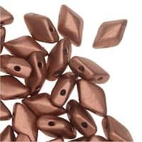 Czech Glass GemDuo, 2-Hole Diamond Shaped Beads 8x5mm, 8 Grams, Bronze Copper