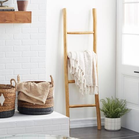 Natural Teak Wood Ladder - 17 x 2 x 59
