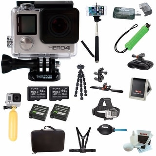 GoPro HERO4 Camera HD Camcorder + Two Sony 64GB Micro  Memory Cards and Deluxe Accessory Kit
