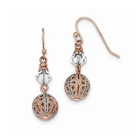 Copper and Silvertone White Crystal Filigree Post Dangle Earrings