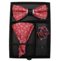 Men's Red Multi Color Paisley Bow Tie with matching Hanky And Lapel Flower - One size