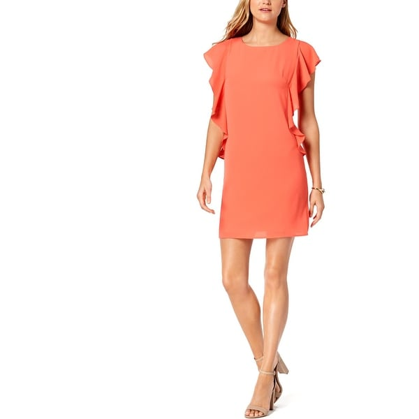 Jessica Howard Womens Sheath Dress Ruffled Mini