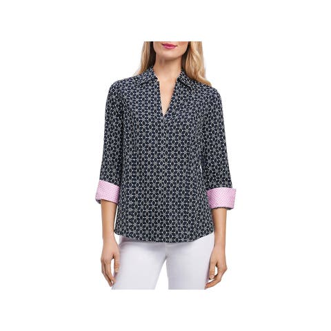Foxcroft Womens Button-Down Top Fitted Long Sleeve - 12