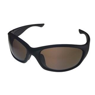 Timberland Mens Sunglass Matte Dark Brown Plastic Wrap Brown Lens TB7123 49E - Medium