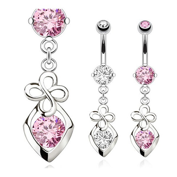 Hollow Diamond and Clover Dangle with CZ 16GA Navel Belly Button Ring 316L Surgical Steel