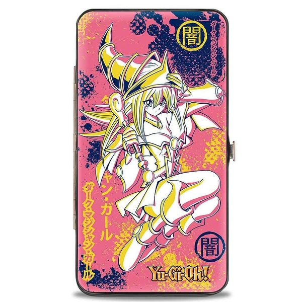 Dark Magician Girl Pose Dark Kanji Pinks Yellow Navy Hinged Wallet - One Size Fits most