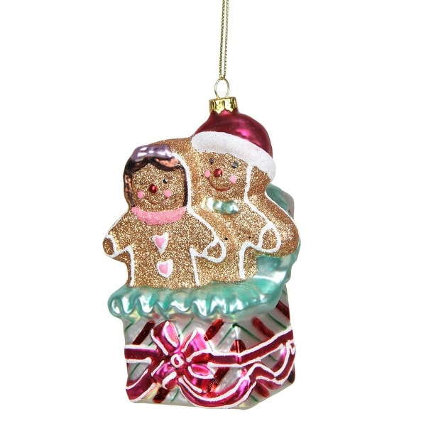"""4.5"""" Glittered Gingerbread Man and Woman in Gift Box Glass Christmas Ornament - multi"""