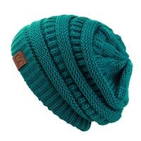 Trendy Warm CC Chunky Soft Stretch Cable Knit Soft Beanie Skully, Teal
