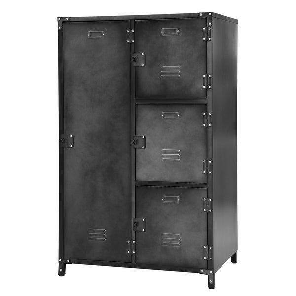 Allspace 4 Door Wardrobe Locker Blk Weathered Finish -240038