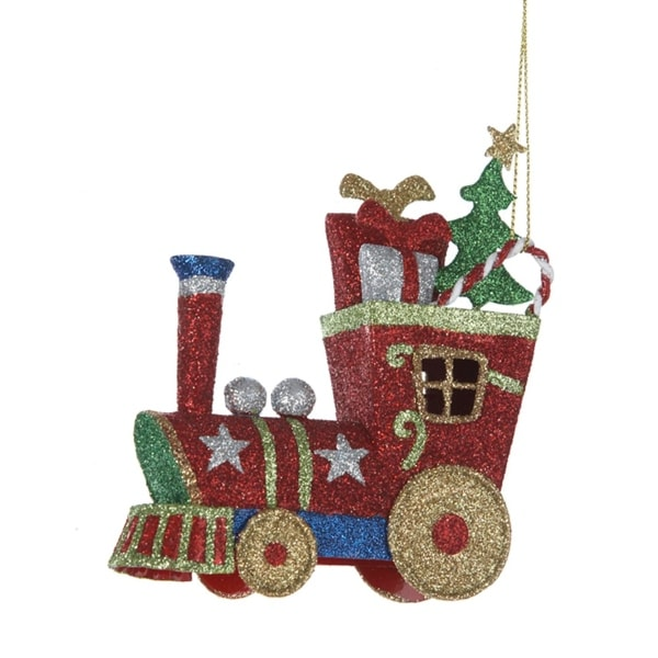 "5"" Multi-Colored Glitter Train with Presents Christmas Ornament"