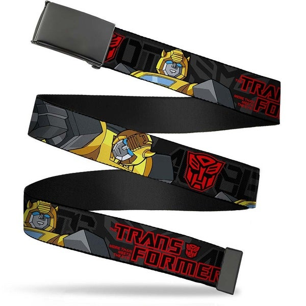 "Blank Black 1.5"" Bo Buckle Transformers Bumble Bee Pose Autobot Gray Red Web Belt"