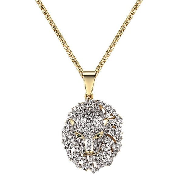 Panther Cheetah Iced Out Pendant Lab Diamonds 14k Gold Tone Free Chain