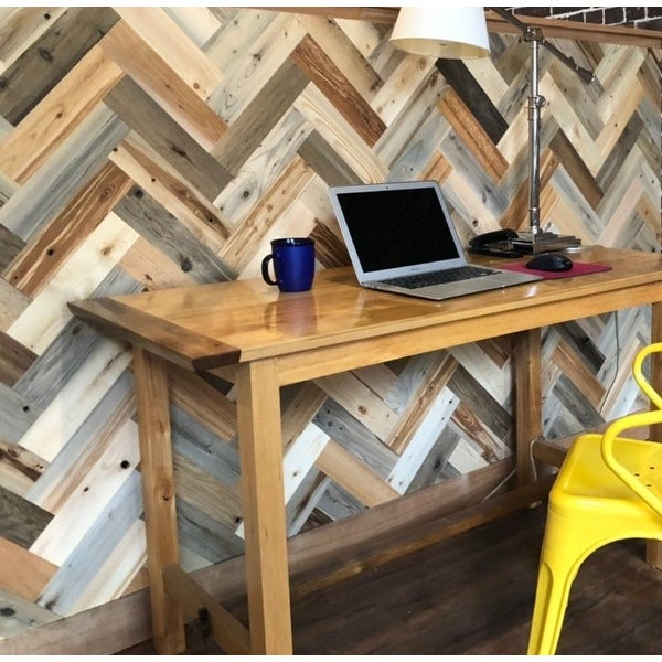 Timberchic Reclaimed Wooden Wall Planks - Peel and Stick Application (Herringbone Pattern). Opens flyout.