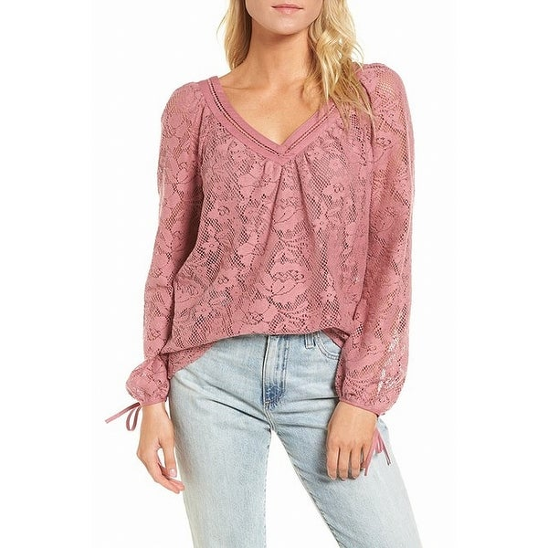 90b11c7c Shop Hinge Pink Womens Size Large L V-Neck Floral Lace Tie-Cuff Top - Free  Shipping On Orders Over $45 - Overstock - 28230481