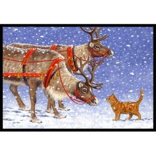 Carolines Treasures ASA2174MAT Reindeer & Cat Indoor or Outdoor Mat 18 x 27
