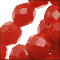 Czech Fire Polished Glass Beads 8mm Round Red Coral (25)