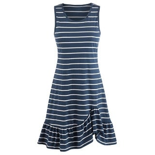 Women's Navy Stripe Knit Sundress - Sleeveless Tank Top Midi Summer Dress