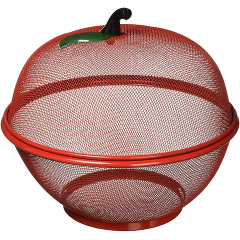 Fruit Basket, Apple Shaped Red Fruit Basket, Decorative Wired Mesh Fruit Basket - Prevents Fruits from Flies and Bugs