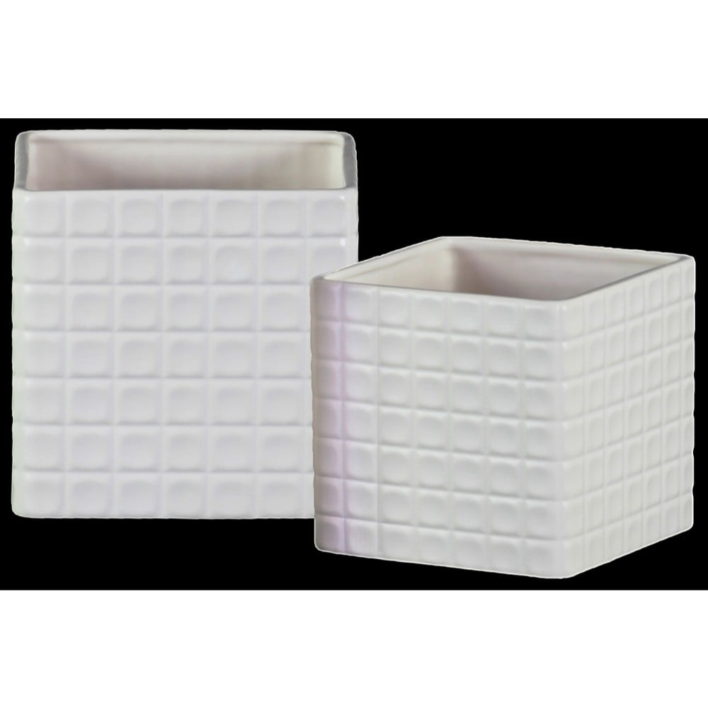 Square Shaped Ceramic Pot with Embossed Lattice Square Design, White, Set of 2