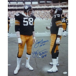 Joe Greene & Jack Lambert Autographed Pittsburgh Steelers 16x20 Photo JSA