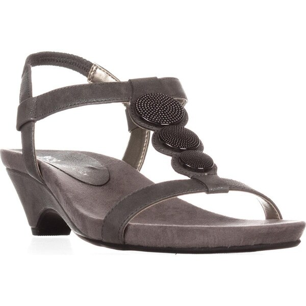 Anne Klein Tayla Comfort Wedge Sandals, Pewter
