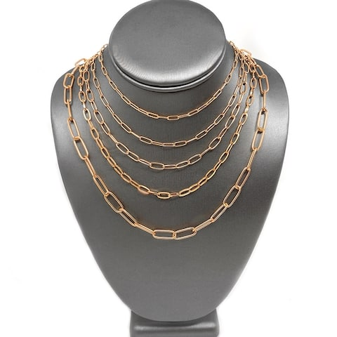 ELYA Polished Stainless Steel Adjustable Paperclip Necklace