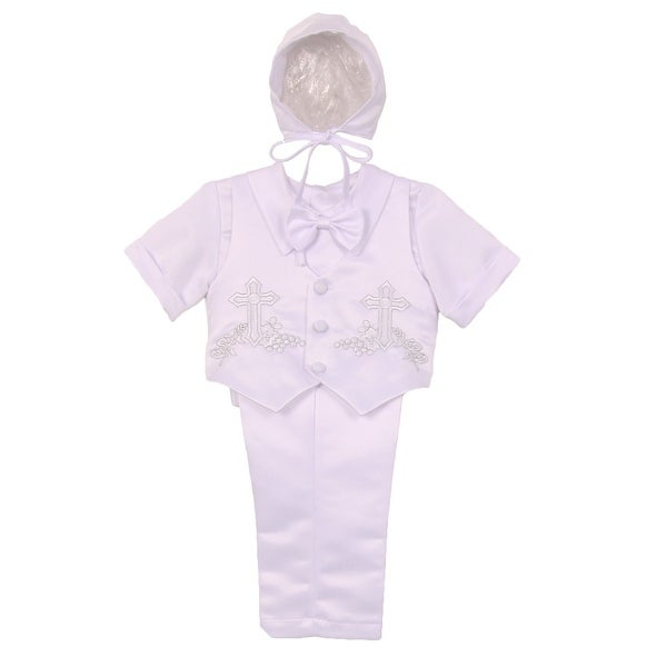e279a22bc5071d Shop Baby Boys White Cross Motif Vest Shirt Bow Tie Hat Pant Baptism Set  6-24M - Free Shipping On Orders Over  45 - Overstock - 18121865