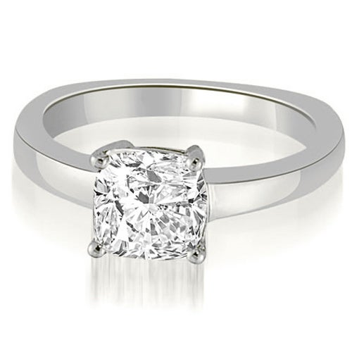 0.75 cttw. 14K White Gold Euro Shank Cushion Solitaire Diamond Engagement Ring