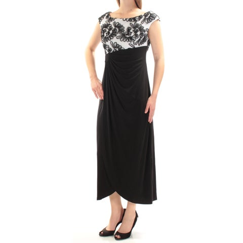 CONNECTED Womens Black Embellished Pleated Cap Sleeve Jewel Neck Below The Knee Formal Dress Petites Size: 4