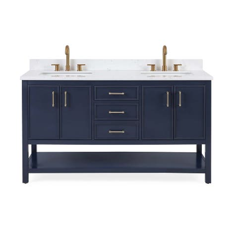 "60"" Tennant Brand Felton Navy Blue Finish Double Sink Bathroom Vanity"