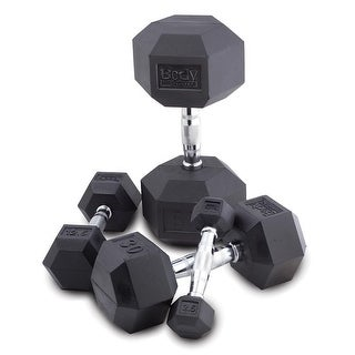 Body Sport Rubber Encased Hex Dumbbell - Sold Individually