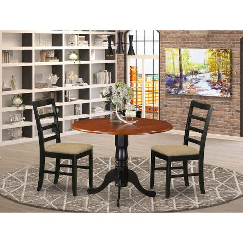 East West Furniture 3 Pc Kitchen Table Set - Dining Table and 2 Kitchen Chairs - Black and Cherry Finish(Chair Seat Option))