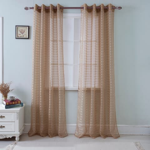 Wanda Striped Box Voile Single Grommet Curtain Panel - (1x) 54 x 90 in.