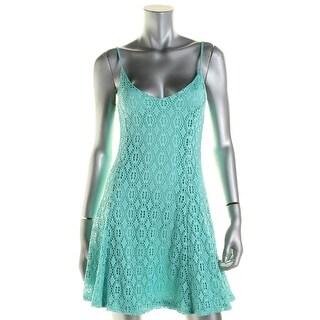 Aqua Womens Casual Dress Crochet Lace Stretch