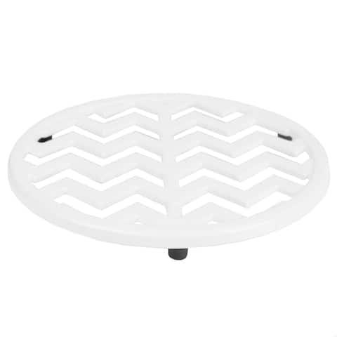 Home Basics Cast Iron Chevron Design Trivet, White, 8x.5 Inches