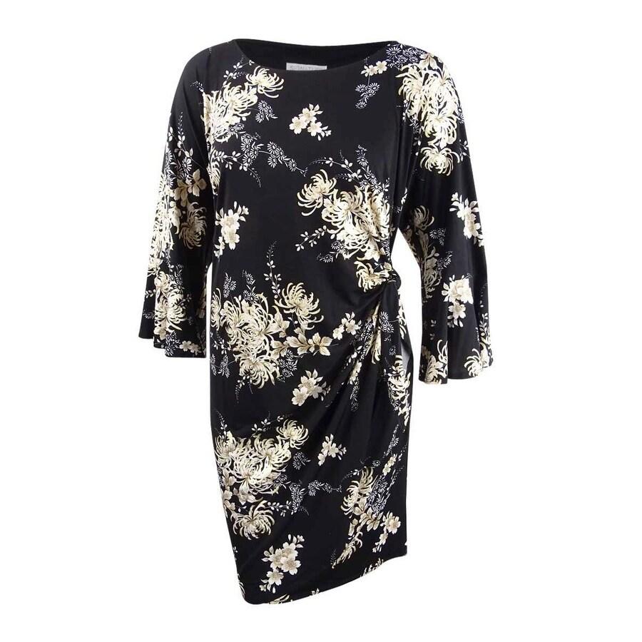 Robbie Bee Womens Plus Size Floral Printed Faux-Wrap Dress - Black/Gold